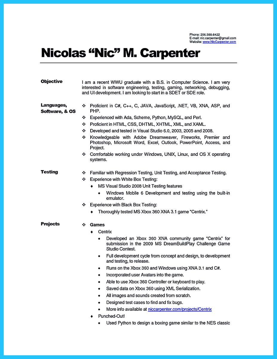 master carpenter resume