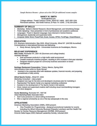 masters degree in business administration resume