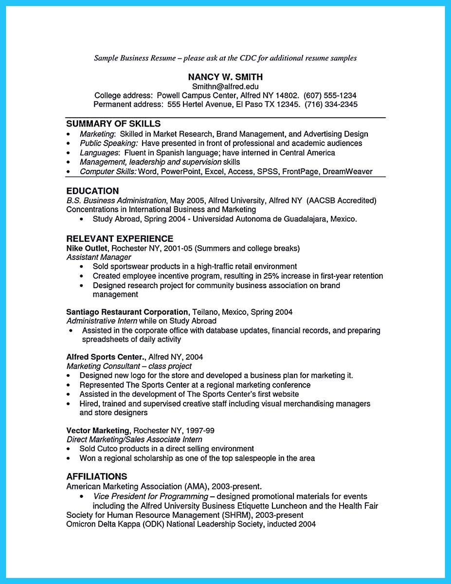... Masters Degree In Business Administration Resume ...  Sample Business Resume