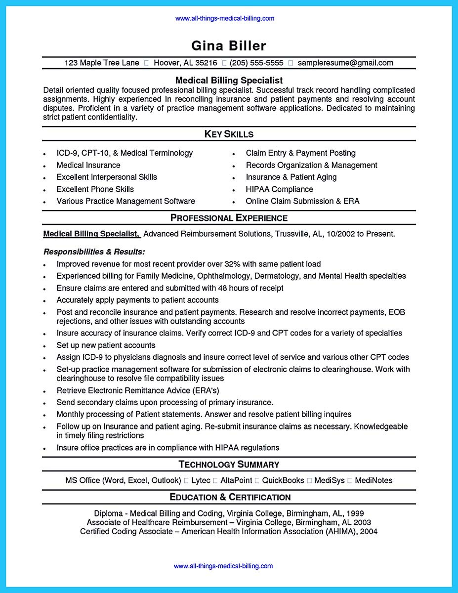 medical billing and coding specialist resume examples with government billing specialist resume