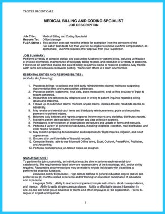 medical billing specialist resume with billing specialist resume cover letter