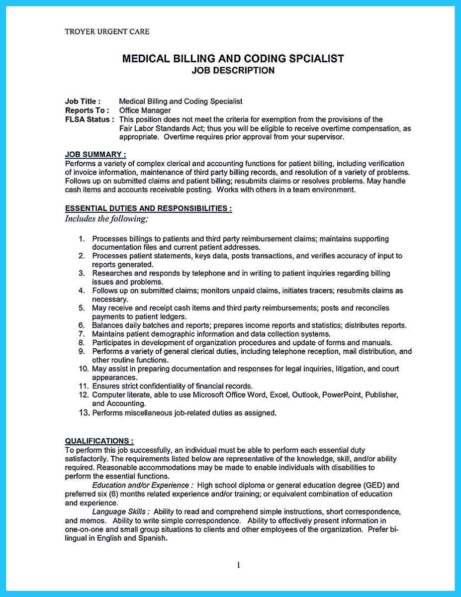 ... Medical Billing Specialist Resume With Billing Specialist Resume Cover  Letter ...  Medical Billing And Coding Resume