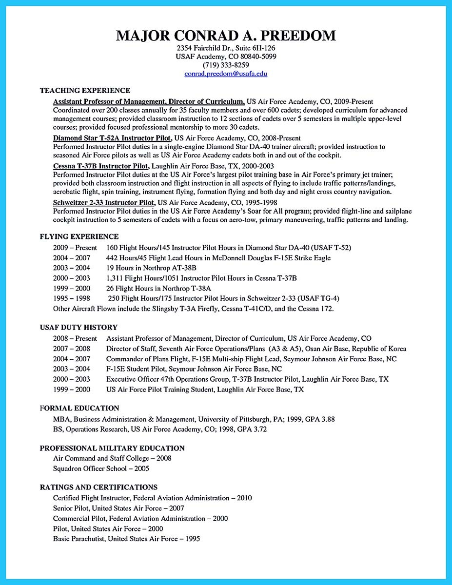 military aviation resume examples