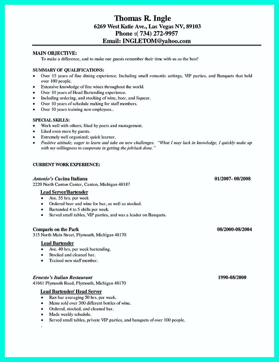 model cocktail server resume