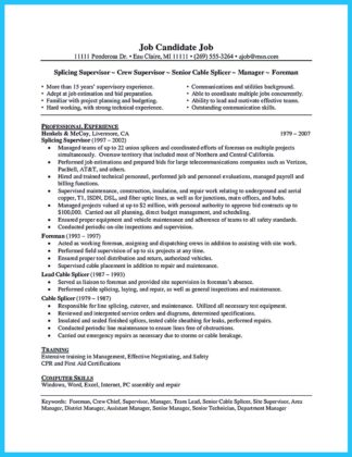 network cable technician resume