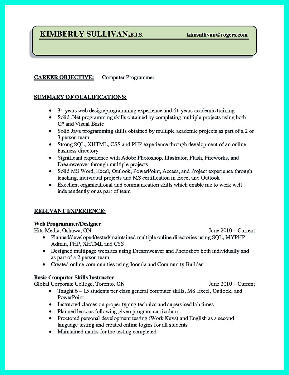 objective for computer programmer resume