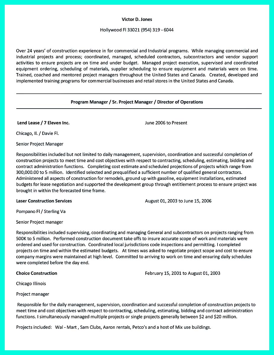 objective in construction management resume