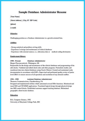 oracle application database administrator resume