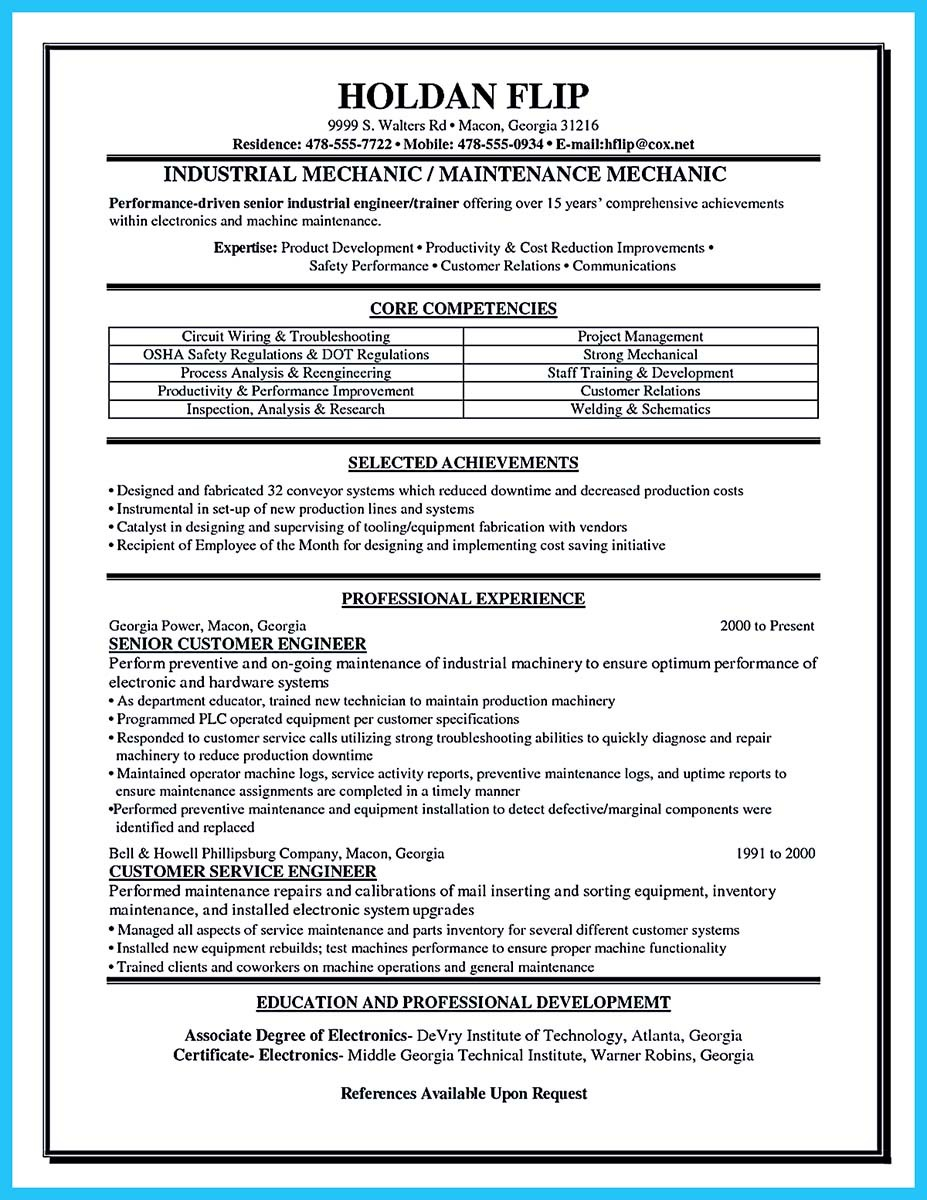 professional automotive technician resume_001