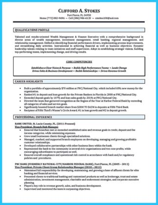 professional bank manager resume
