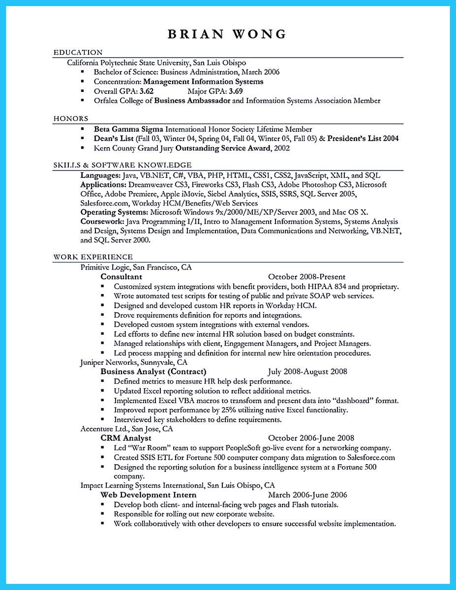 project manager business analyst resume