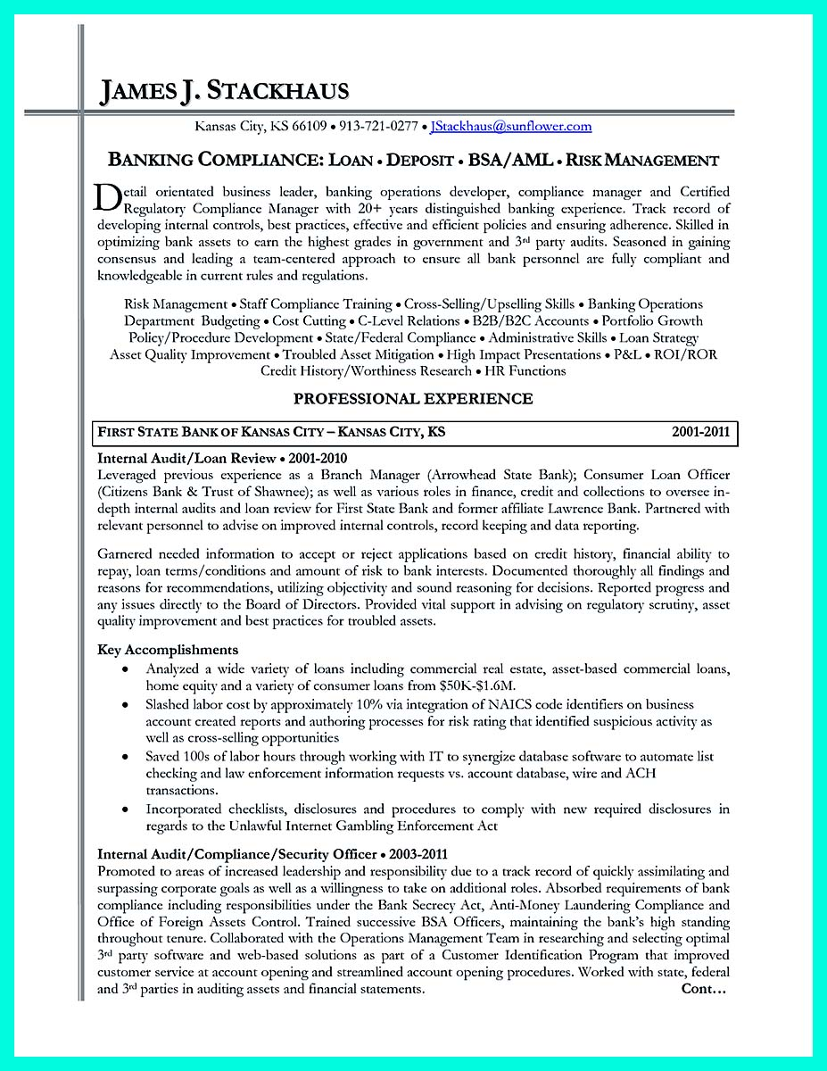 regulatory compliance officer resume