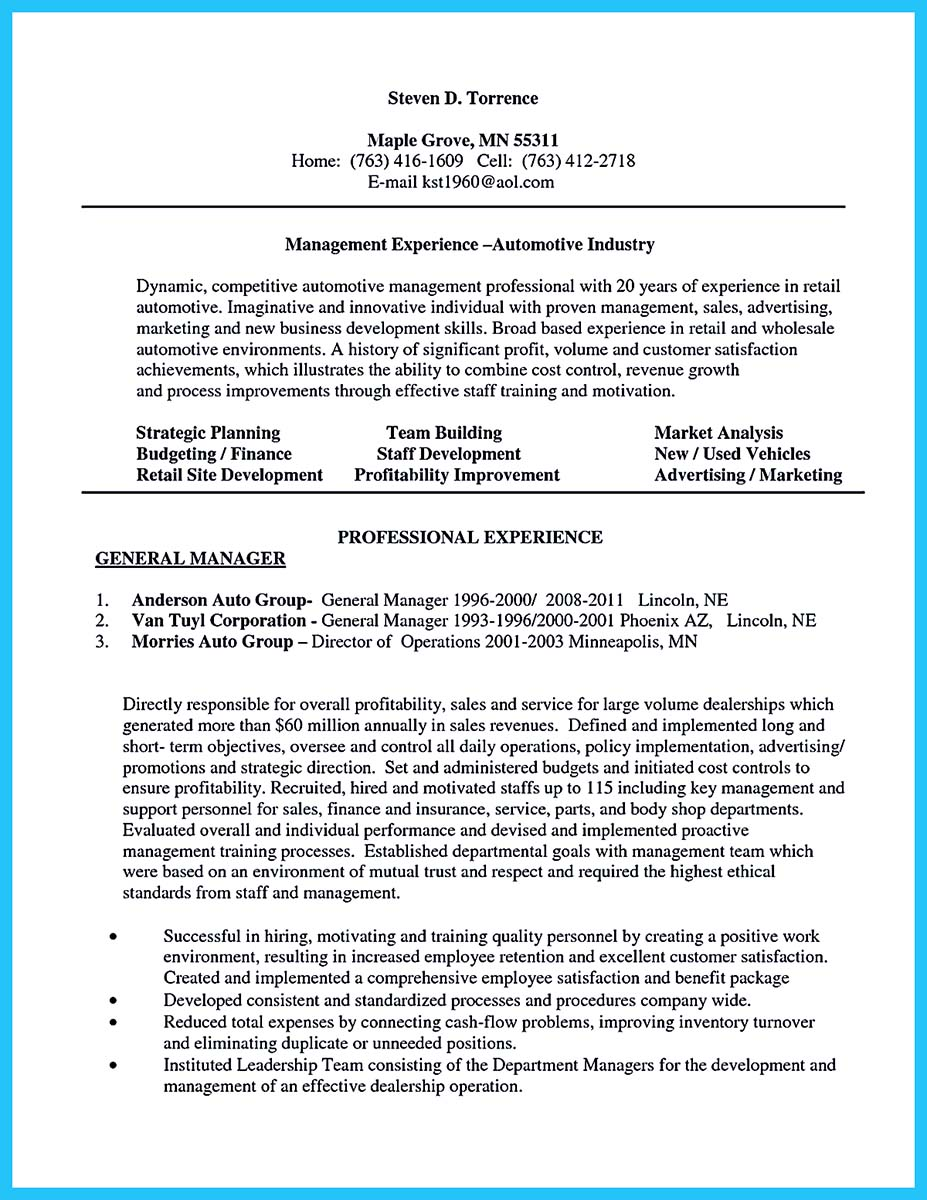 resume for sales jobs