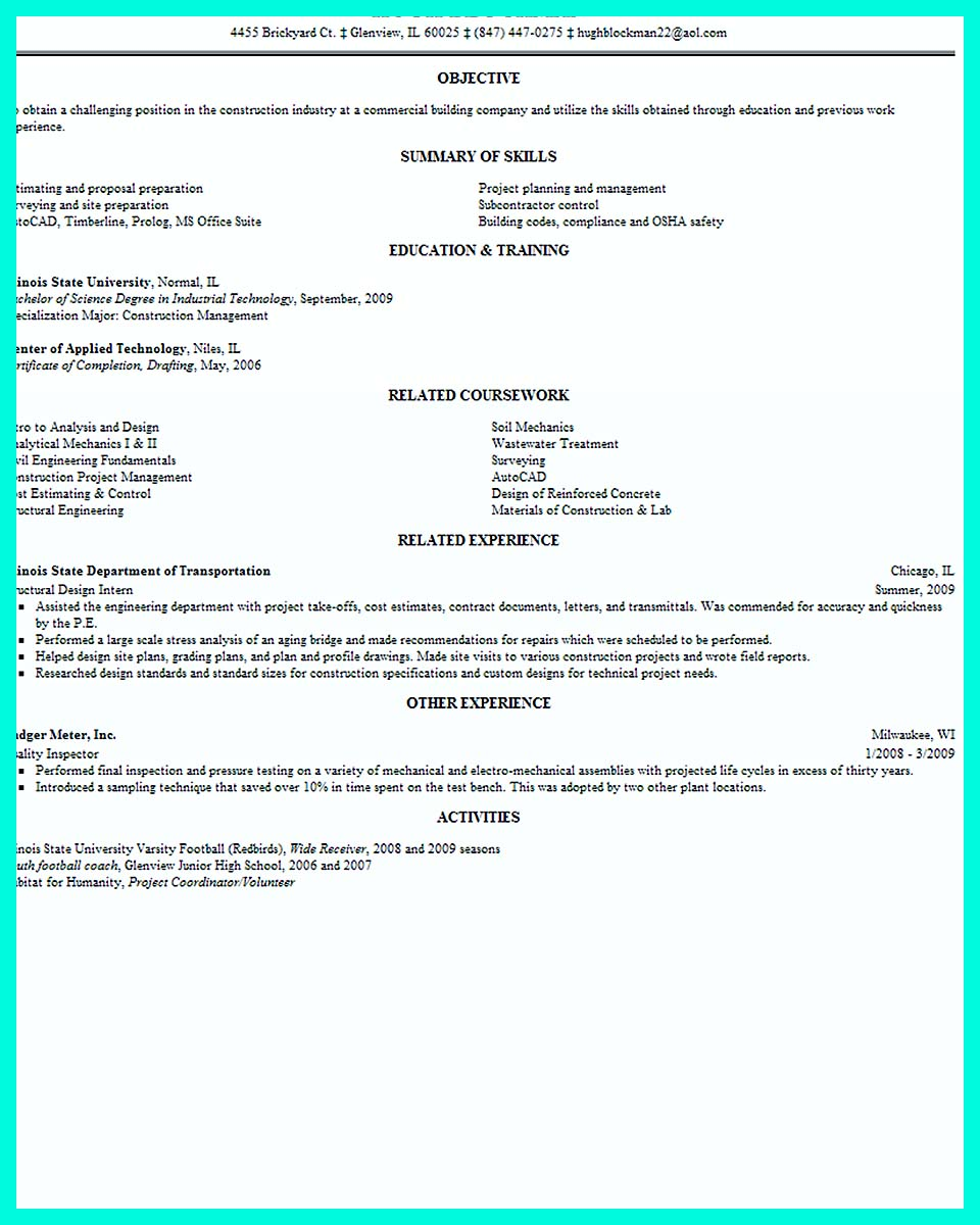 Resume Examples For Building Superintendent