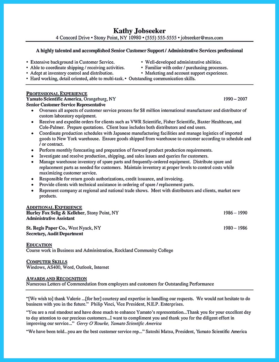 resume csr qualifications