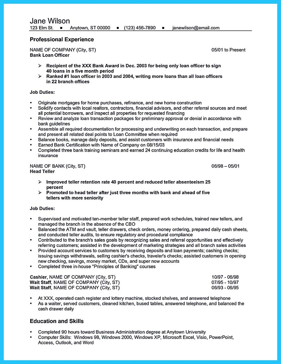 resume examples for banking and resume examples for banking industry