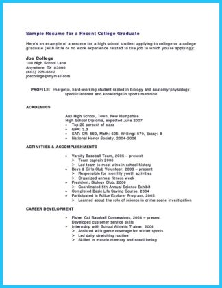 resume for a current college student
