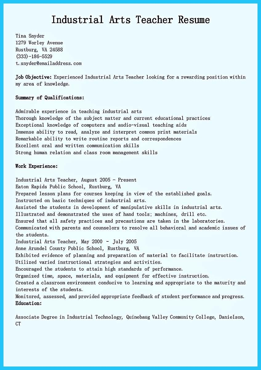 ... Resume For Art Teacher ...  How To Write A Teacher Resume
