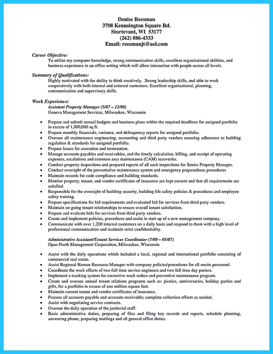 Assistant Commercial Property Manager Resume Cipanewsletter Writing A Great How To Write