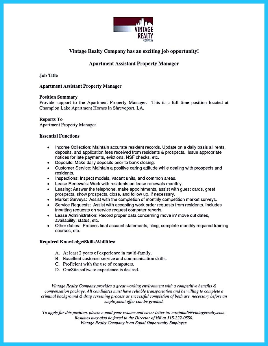 assistant property management resume examples