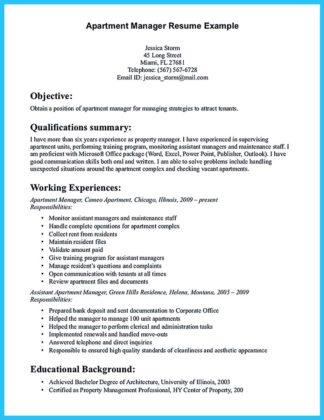 resume for assistant property manager and resume for assistant property manager position