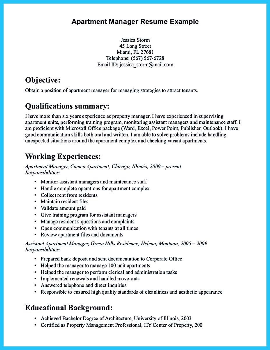 Assistant property manager resume summary