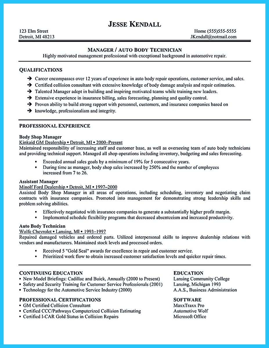 resume for auto sales manager