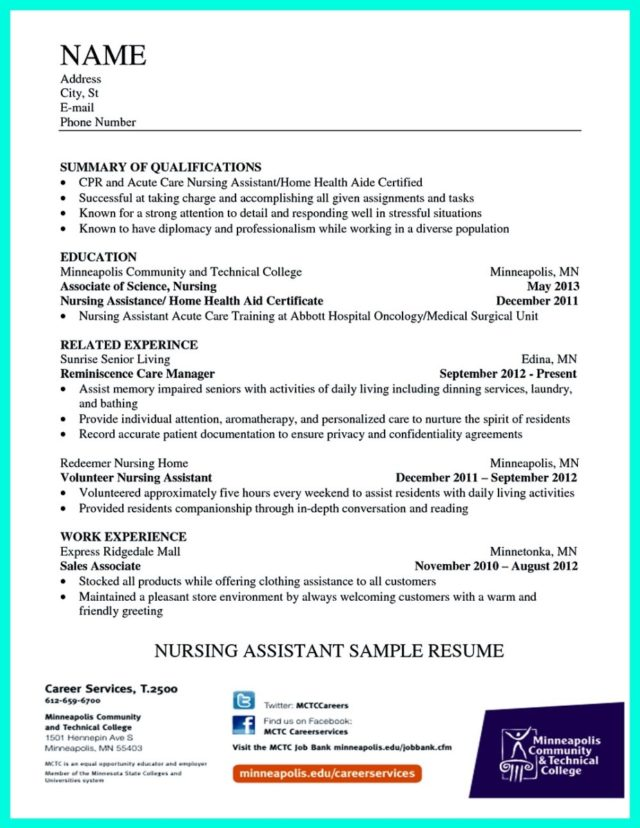 resume for certified nursing assistant and certified nursing assistant resume objective examples