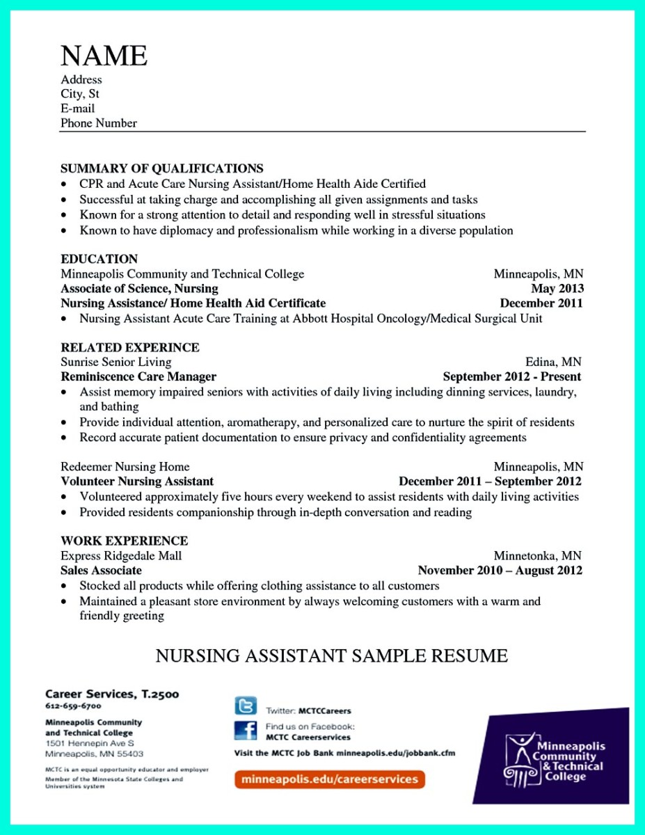 Certified Nursing Assistant Sample Resume