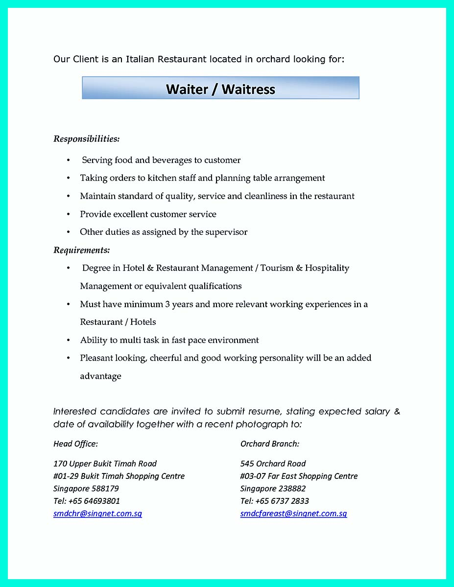 example resume for cocktail server position cocktail waitress resume sample - Cocktail Waitress Resume Sample