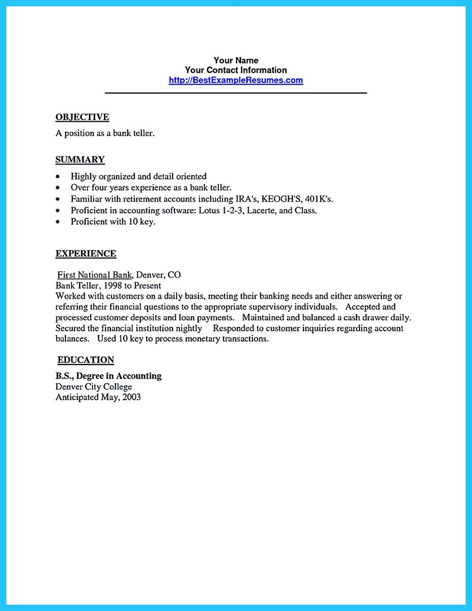 resume sample for a bank teller position