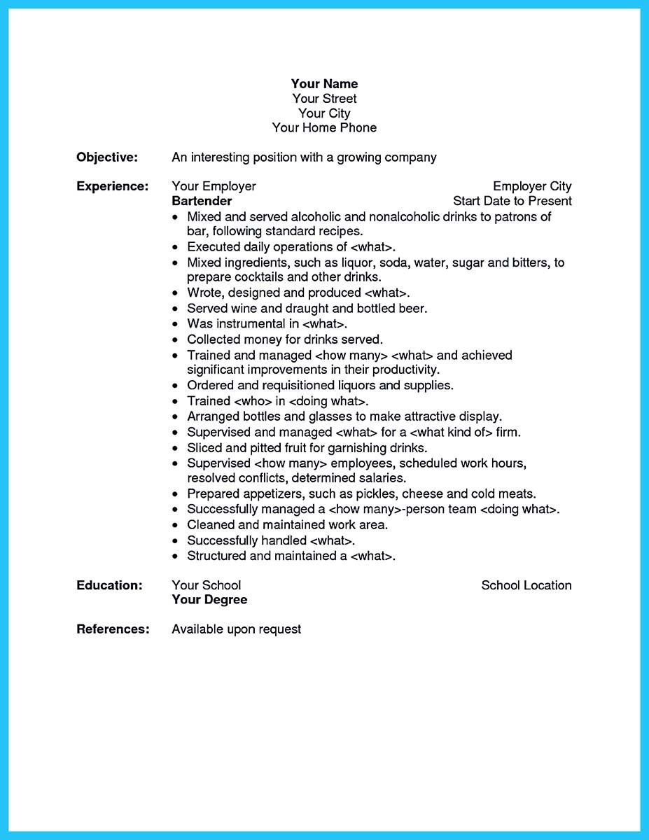 resume sample for bartender and bartender resume template no experience
