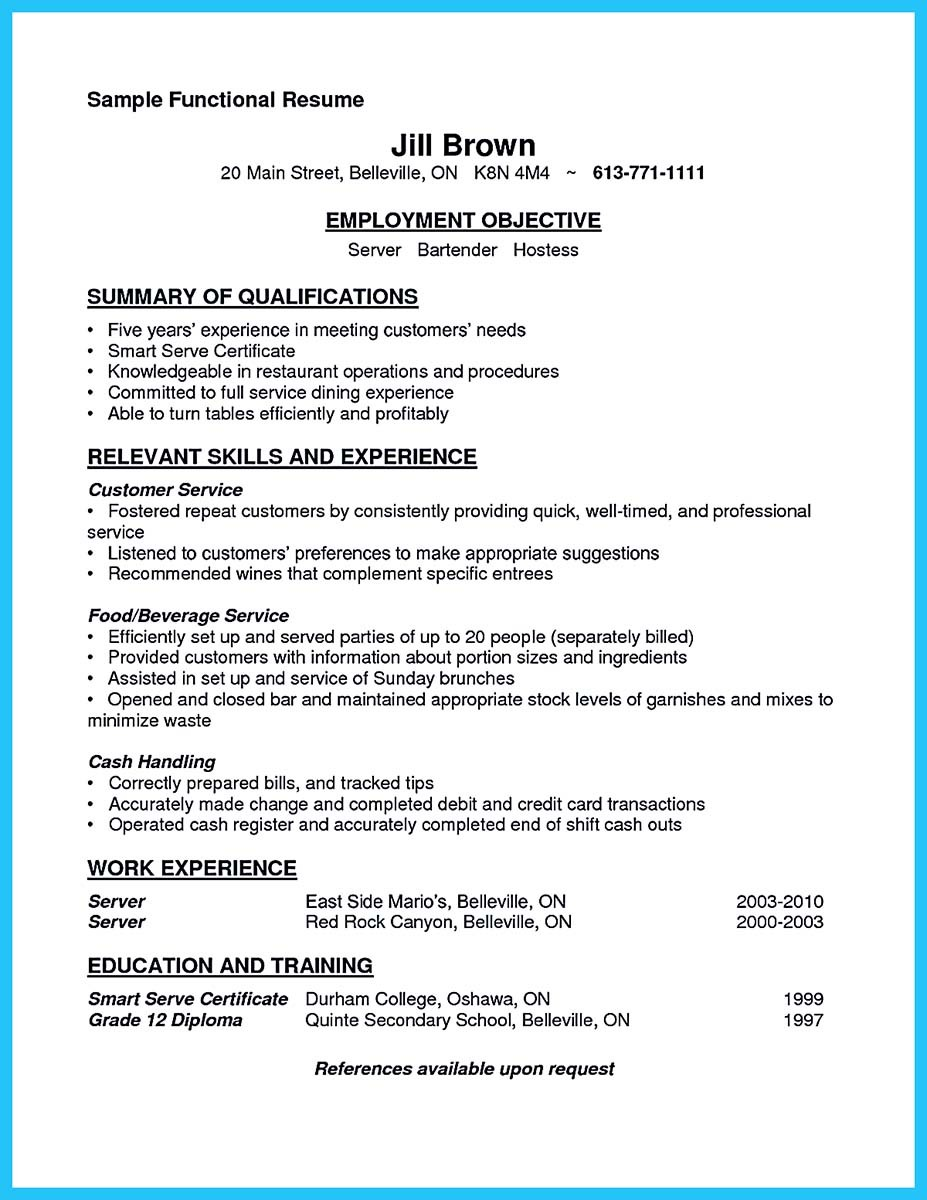 resume sample for bartender and professional bartender resume sample