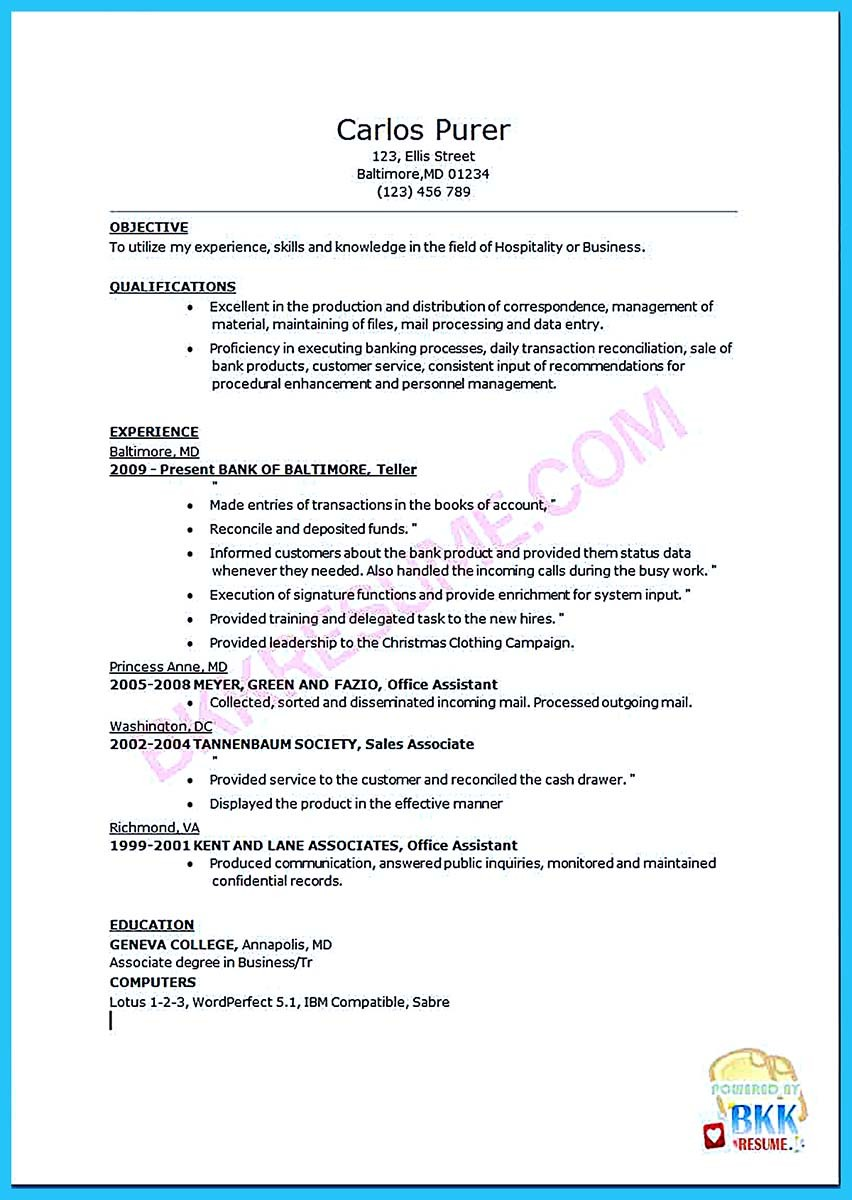 resume sample for a bank teller position resume_bank_teller bkkresume - Bank Teller Sample Resume