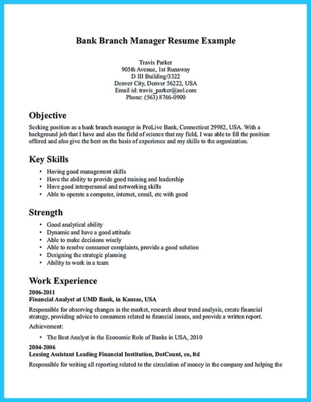 one of recommended banking resume examples to learn how