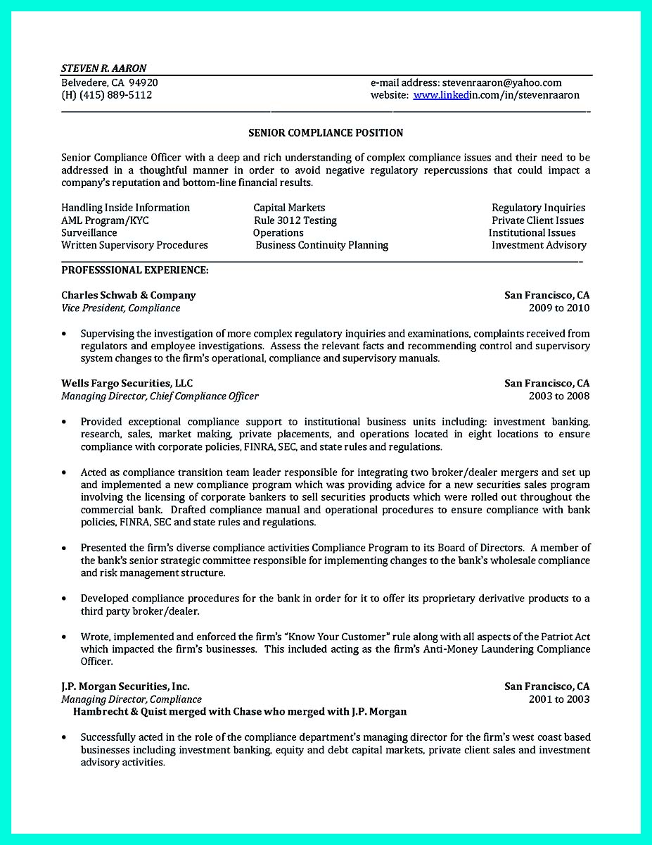 risk and compliance officer resume