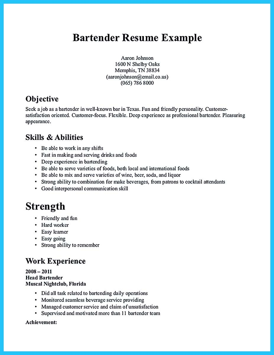 Sample Bartender Resume Skills And Bartending Example No Experience