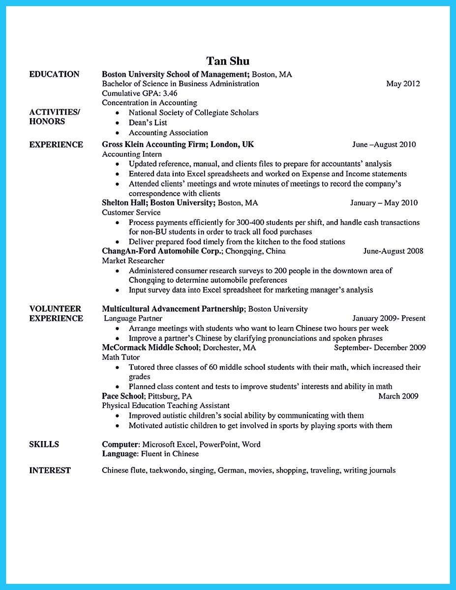 sample business administration resume example