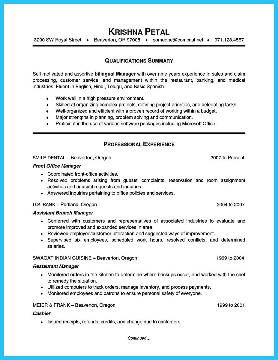 sample of a bank manager resume