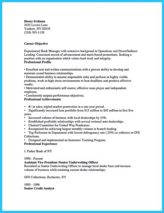 sample of bank manager resume