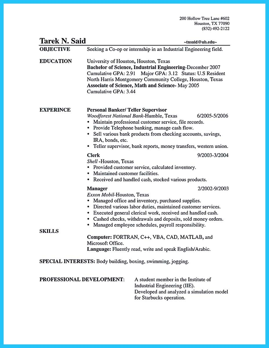 sample resume for bank teller at entry level
