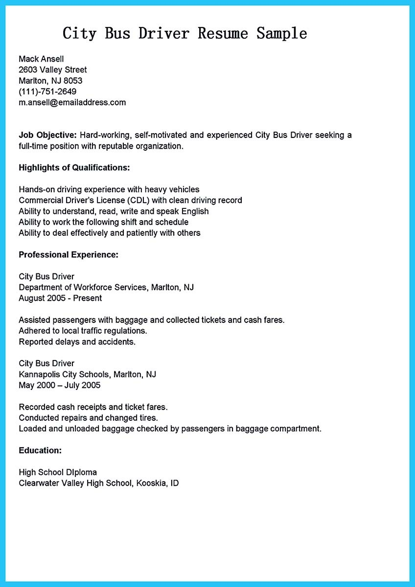 resume for bus driver position