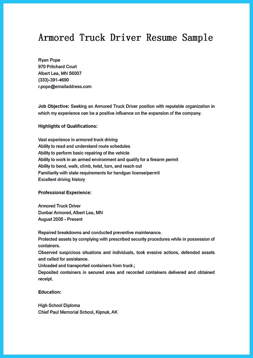 truck driver resumes free sample example format free sample truck driver resume job and resume template - Sample Resume For Armored Truck Driver