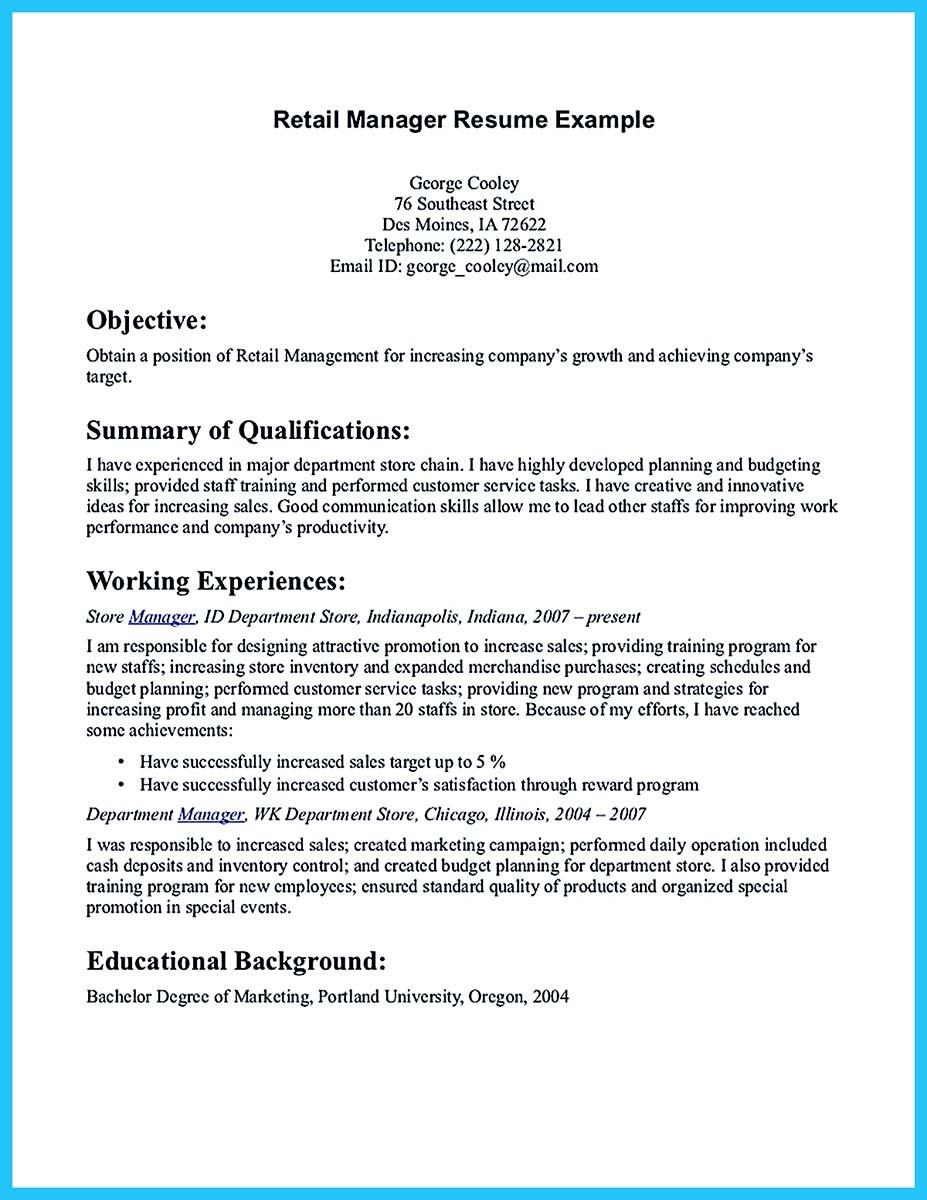 store manager resume description and store manager resume objective examples