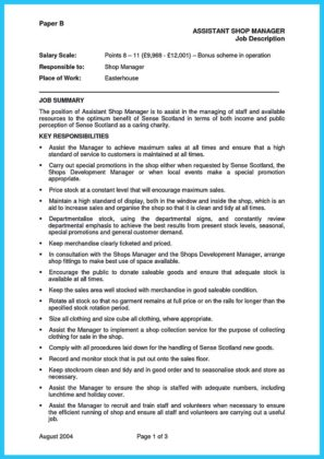 store manager resume examples and retail assistant store manager resume