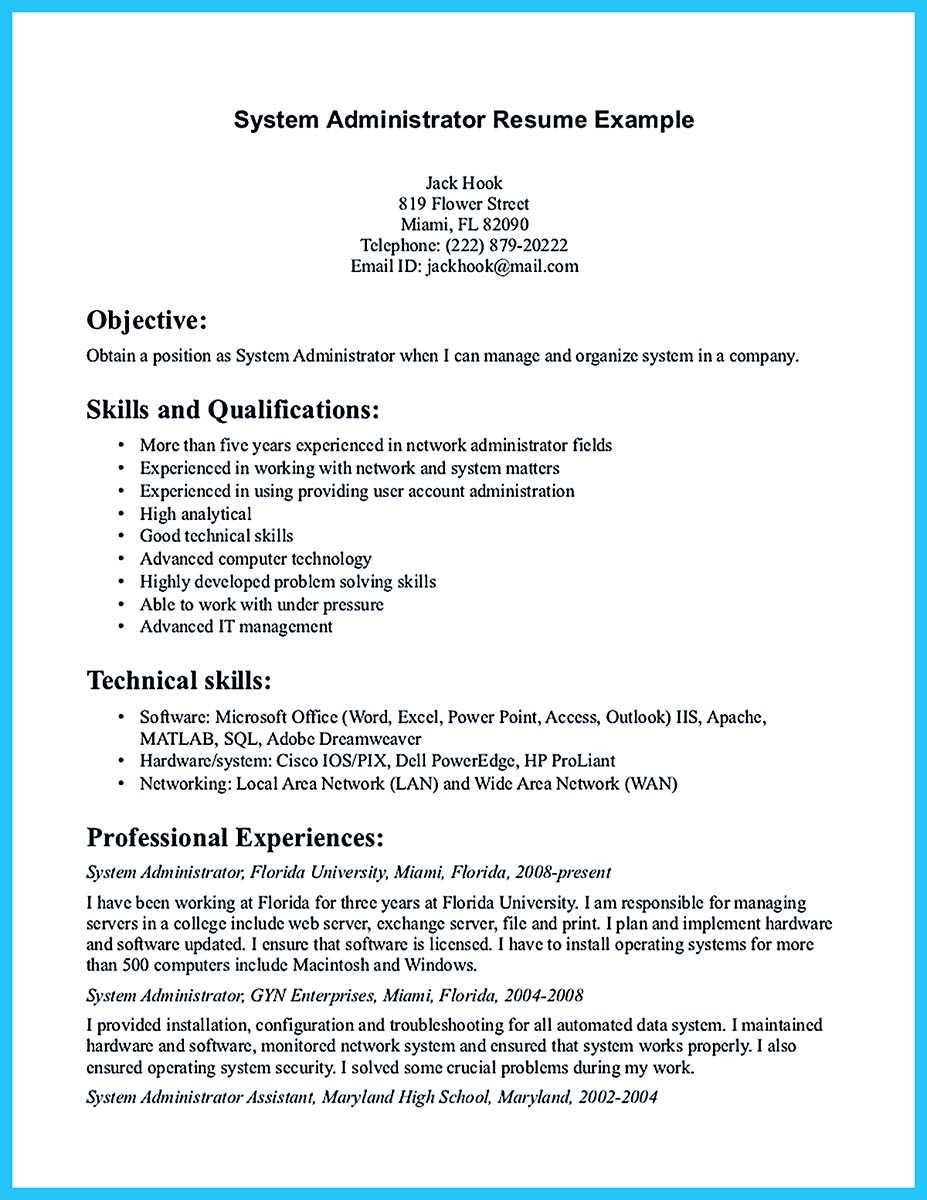 good administration resume sample linux system administrator resume sample network administrator