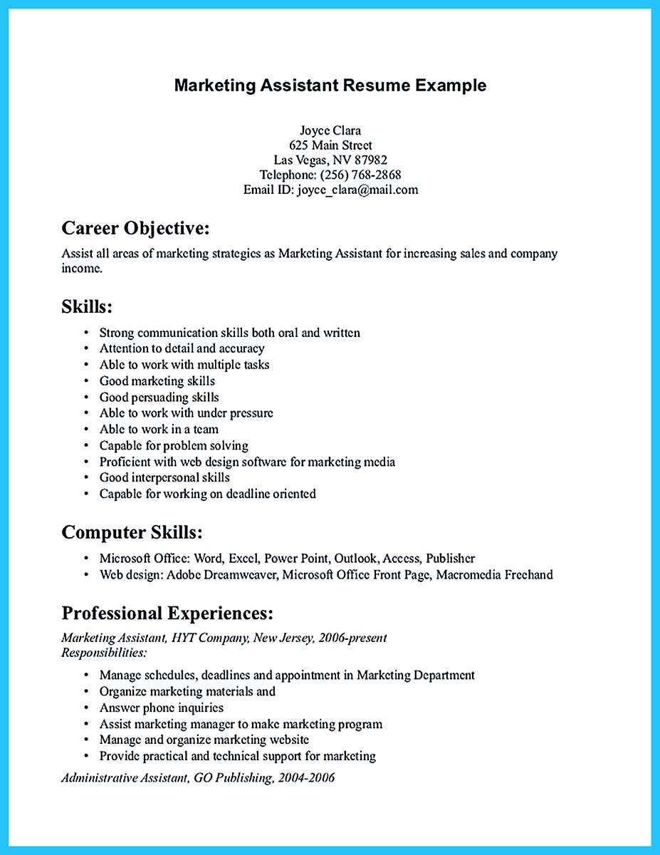 marketing assistant resume sample marketing assistant assistant