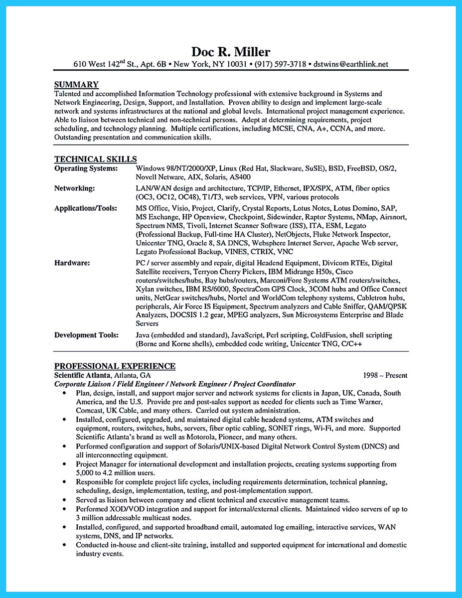 Telecommunication Cable Technician Resume