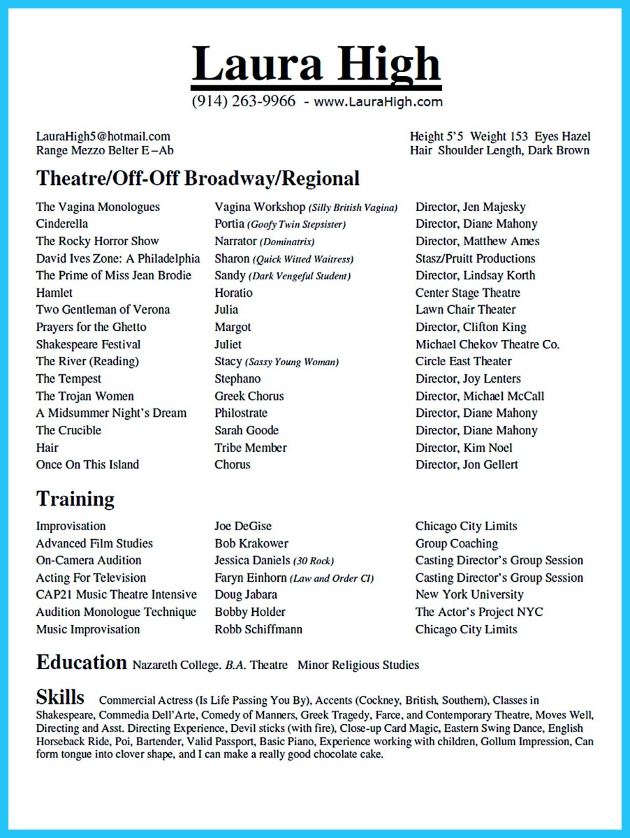 theater resume sample - Sample Musical Theatre Resume