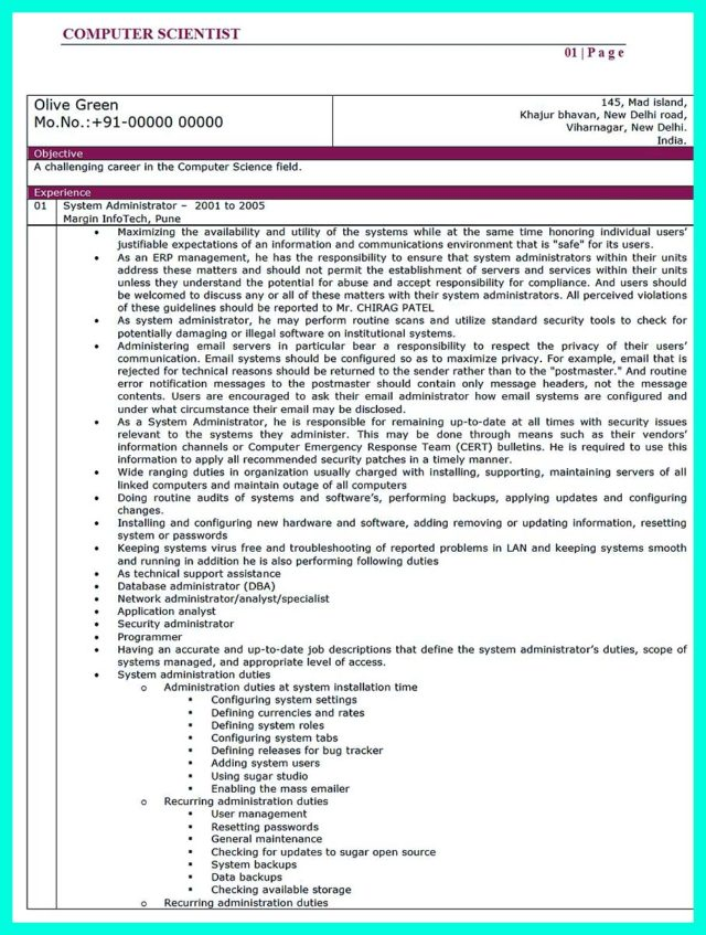 writing a computer science resume